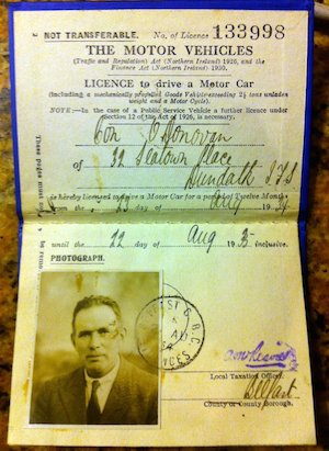 Image of Con O'Donovan's 1934 Northern Ireland driving licence