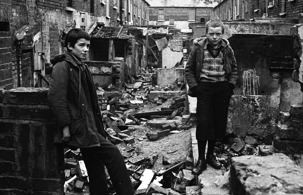 McKee  //  County Down :: Youths in rubble of terraced houses undergoing demolition